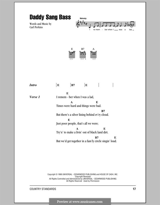 Daddy Sang Bass (Johnny Cash): Lyrics and chords (with chord boxes) by Carl Lee Perkins