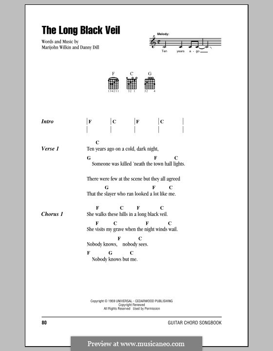 The Long Black Veil by D. Dill, M. Wilkin - sheet music on MusicaNeo