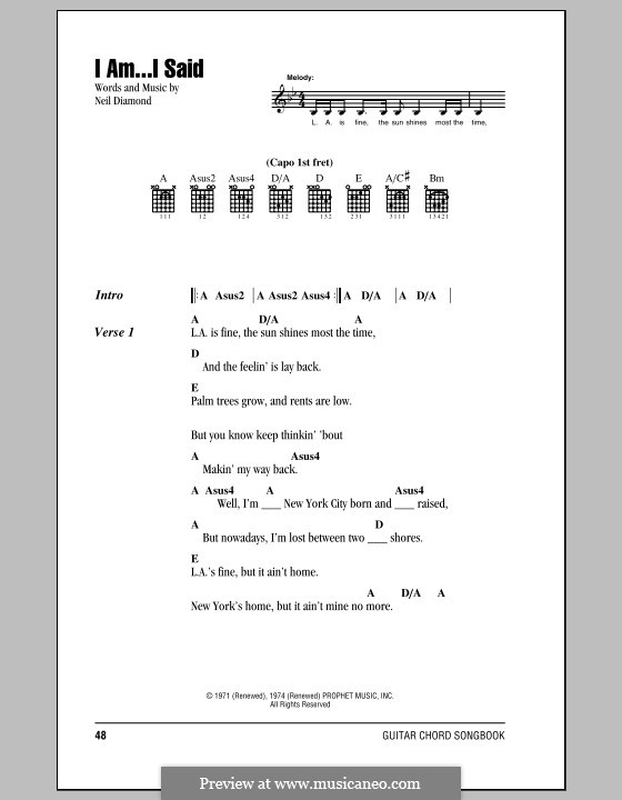 I Am...I Said: Lyrics and chords (with chord boxes) by Neil Diamond
