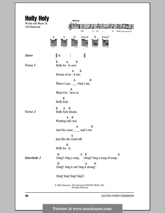 Holly Holy: Lyrics and chords (with chord boxes) by Neil Diamond