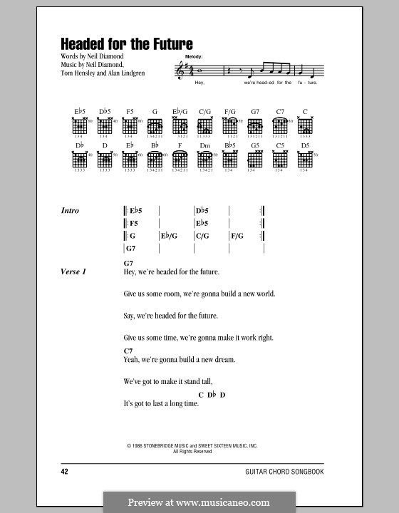 Headed for the Future: Lyrics and chords (with chord boxes) by Alan Lindgren, Tom Hensley