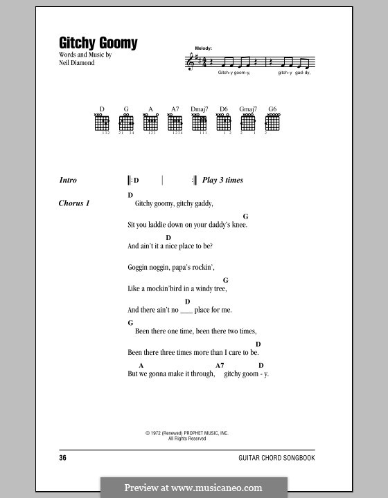 Gitchy Goomy: Lyrics and chords (with chord boxes) by Neil Diamond