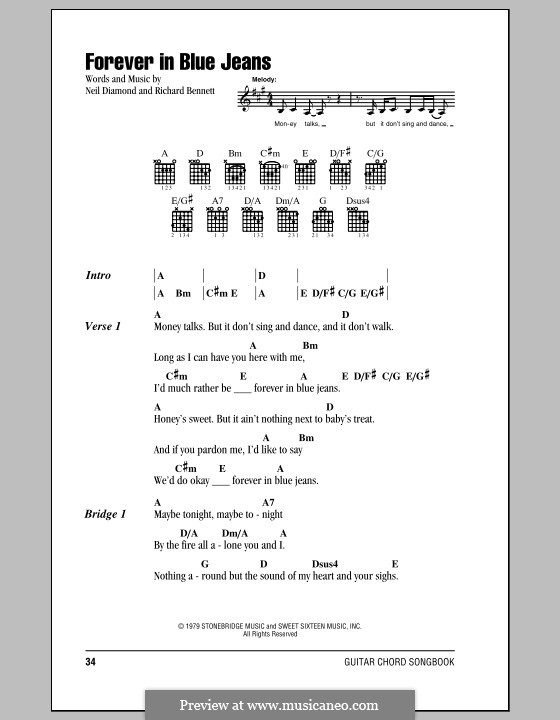 Forever in Blue Jeans: Lyrics and chords (with chord boxes) by Richard Bennett