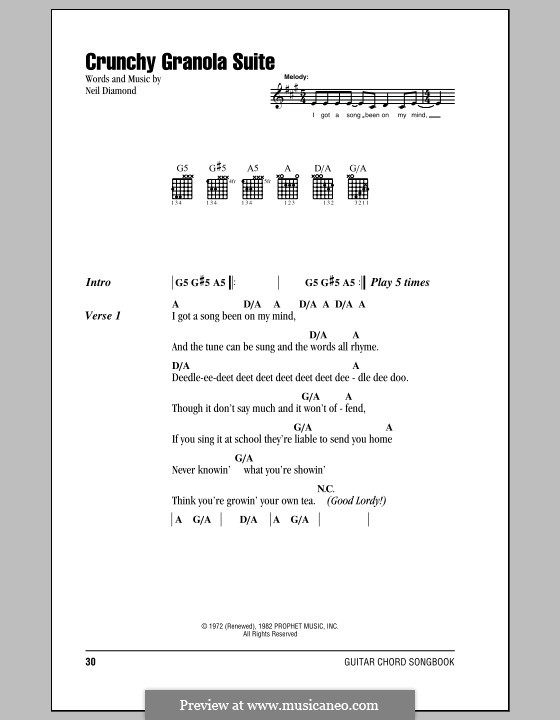 Crunchy Granola Suite: Lyrics and chords (with chord boxes) by Neil Diamond
