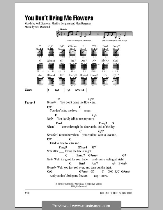 You Dont Bring Me Flowers By N Diamond Sheet Music On Musicaneo