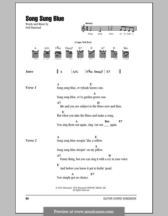 Song Sung Blue: Lyrics and chords (with chord boxes) by Neil Diamond