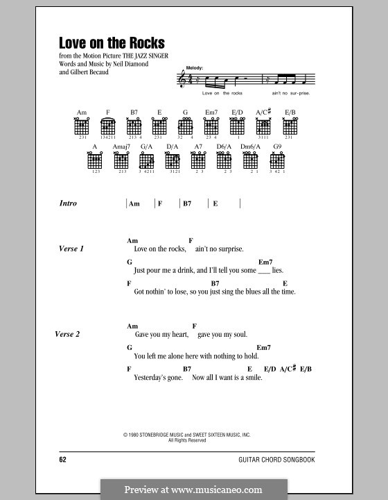 Love on the Rocks (from The Jazz Singer): Lyrics and chords (with chord boxes) by Gilbert Becaud, Neil Diamond