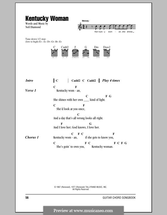 Kentucky Woman: Lyrics and chords (with chord boxes) by Neil Diamond