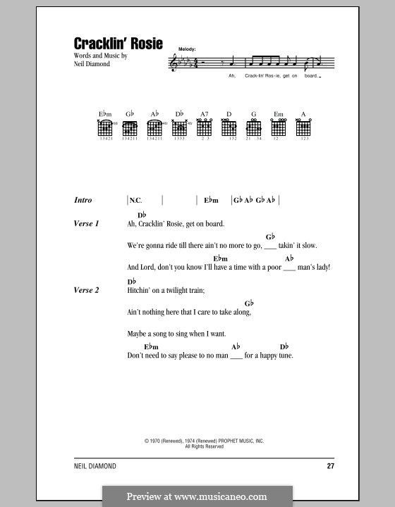 Cracklin' Rosie: Lyrics and chords (with chord boxes) by Neil Diamond