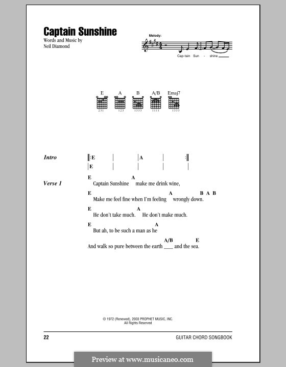 Captain Sunshine: Lyrics and chords (with chord boxes) by Neil Diamond