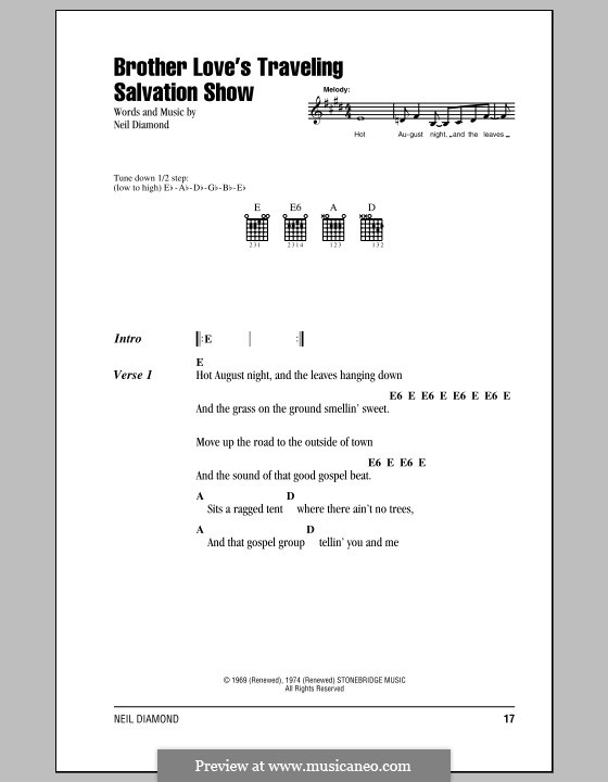Brother Love's Traveling Salvation Show: Lyrics and chords (with chord boxes) by Neil Diamond