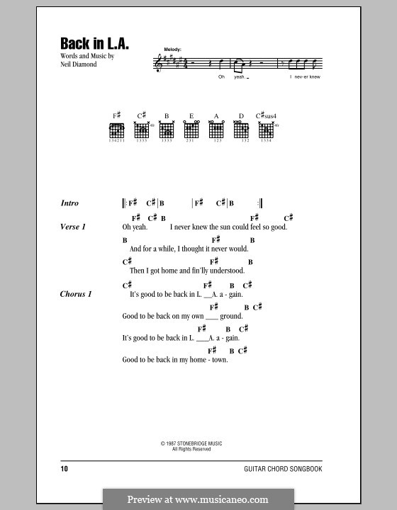 Back in L.A.: Lyrics and chords (with chord boxes) by Neil Diamond