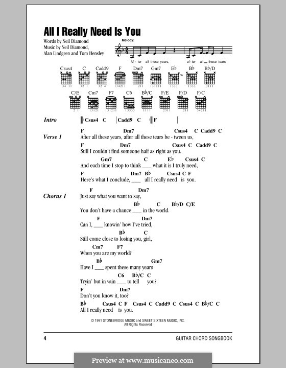 All I Really Need Is You: Lyrics and chords (with chord boxes) by Alan Lindgren, Tom Hensley