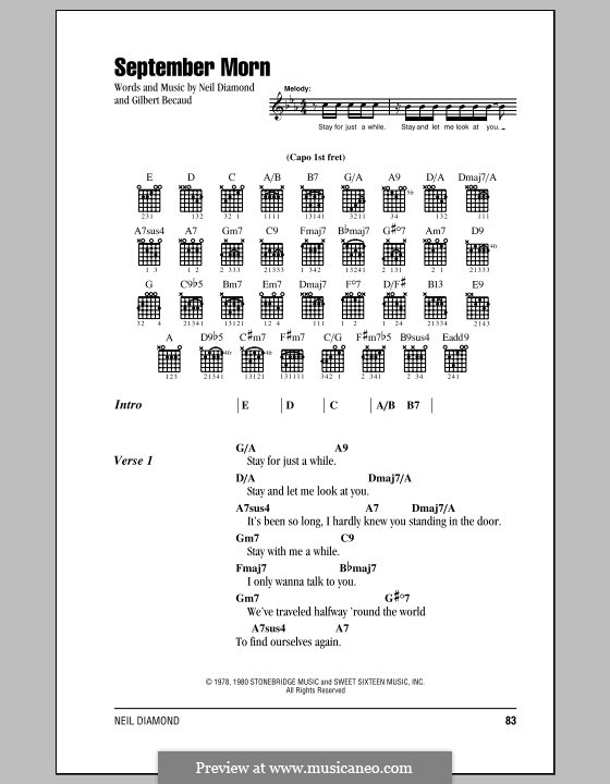 September Morn: Lyrics and chords (with chord boxes) by Gilbert Becaud