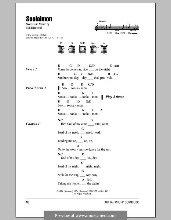 Soolaimon: Lyrics and chords (with chord boxes) by Neil Diamond