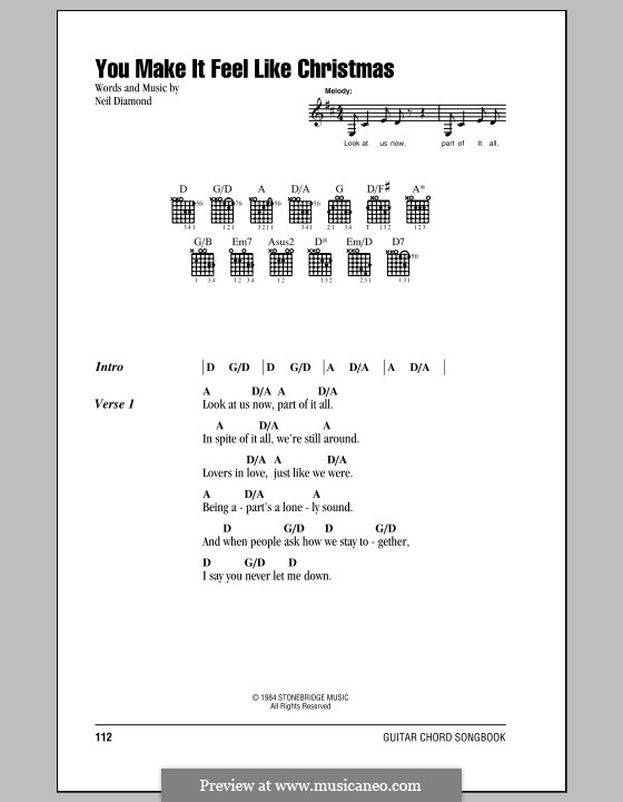 You Make It Feel Like Christmas: Lyrics and chords (with chord boxes) by Neil Diamond