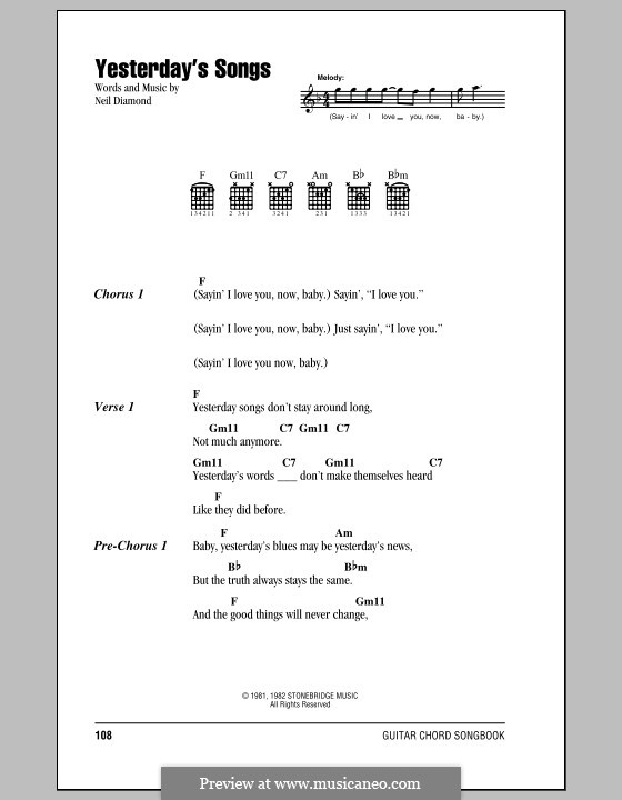 Yesterday's Songs: Lyrics and chords (with chord boxes) by Neil Diamond