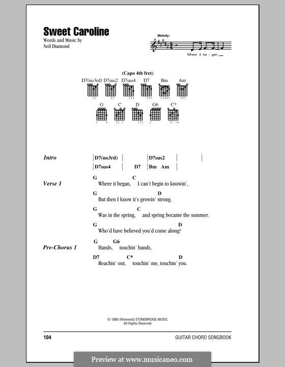Sweet Caroline: Lyrics and chords (with chord boxes) by Neil Diamond
