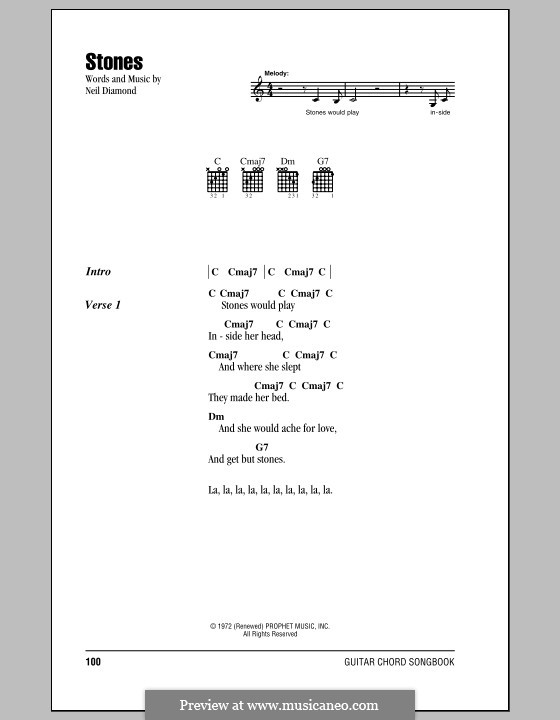 Stones: Lyrics and chords (with chord boxes) by Neil Diamond