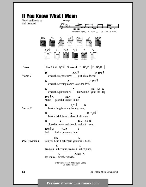 If You Know What I Mean: Lyrics and chords (with chord boxes) by Neil Diamond