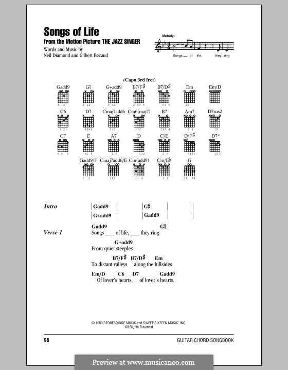 Songs of Life: Lyrics and chords (with chord boxes) by Gilbert Becaud