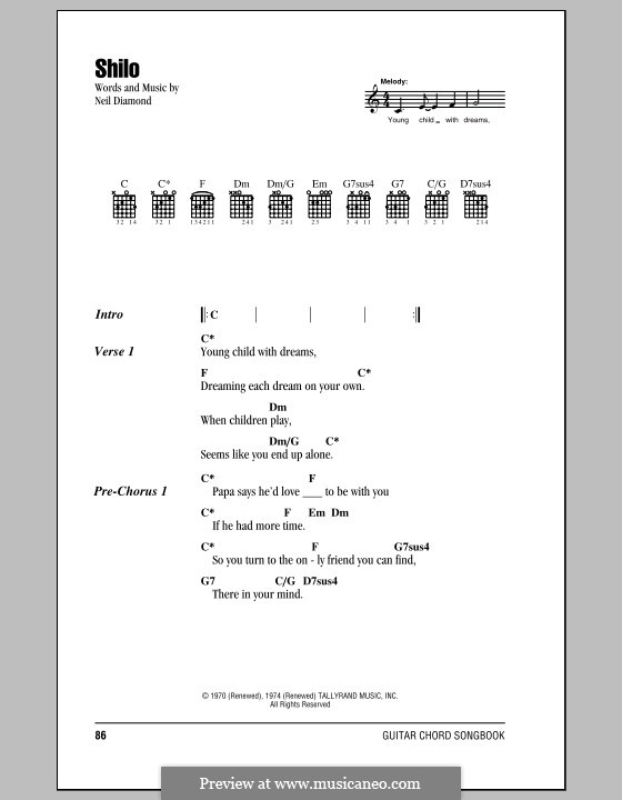 Shilo: Lyrics and chords (with chord boxes) by Neil Diamond