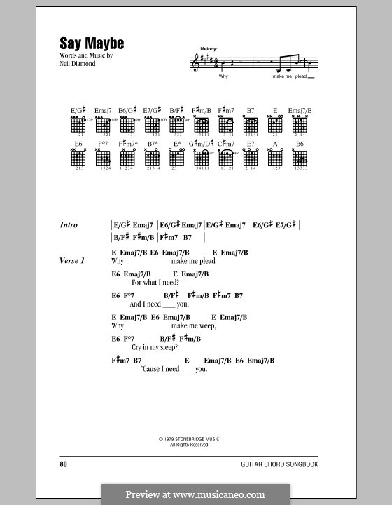 Say Maybe: Lyrics and chords (with chord boxes) by Neil Diamond
