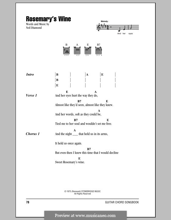 Rosemary's Wine: Lyrics and chords (with chord boxes) by Neil Diamond