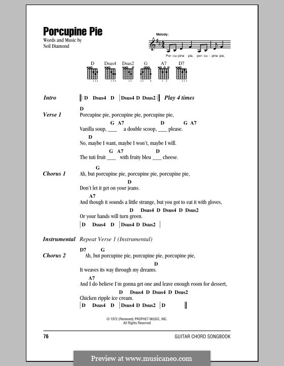 Porcupine Pie: Lyrics and chords (with chord boxes) by Neil Diamond