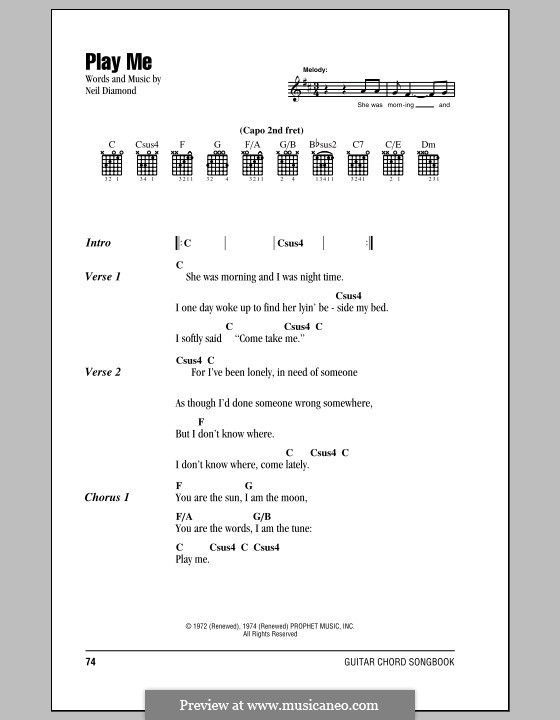 Play Me: Lyrics and chords (with chord boxes) by Neil Diamond