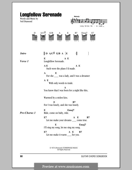 Longfellow Serenade: Lyrics and chords (with chord boxes) by Neil Diamond