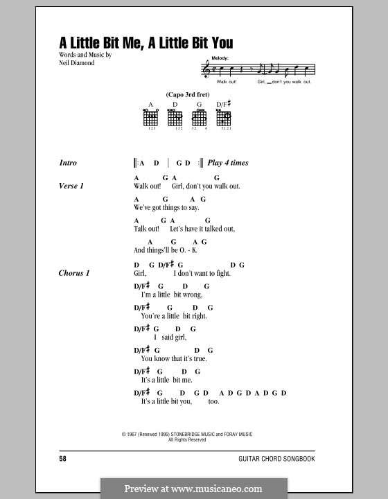 A Little Bit Me, a Little Bit You: Lyrics and chords (with chord boxes) by Neil Diamond