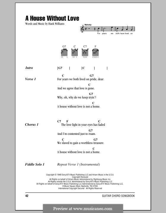 A House without Love: Lyrics and chords (with chord boxes) by Hank Williams