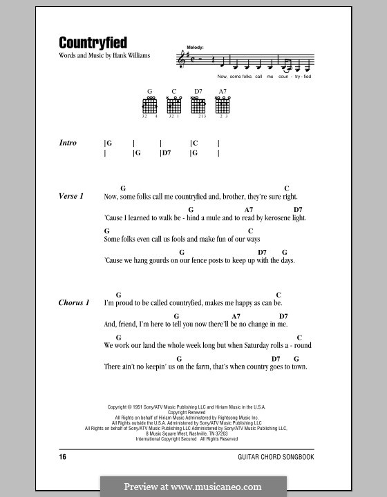Countryfied: Lyrics and chords (with chord boxes) by Hank Williams