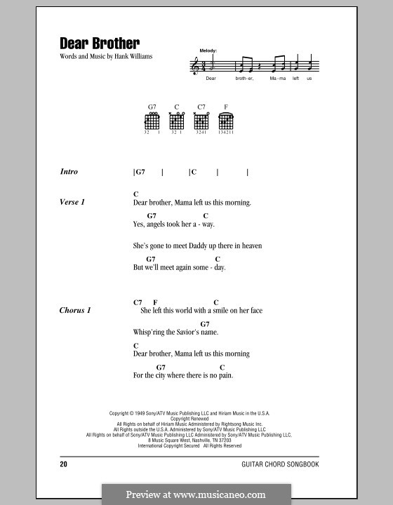 Dear Brother: Lyrics and chords (with chord boxes) by Hank Williams