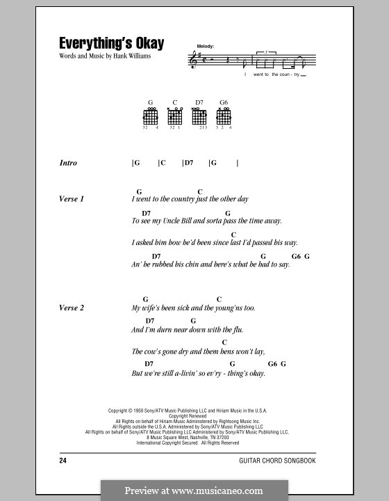 Everything's Okay: Lyrics and chords (with chord boxes) by Hank Williams