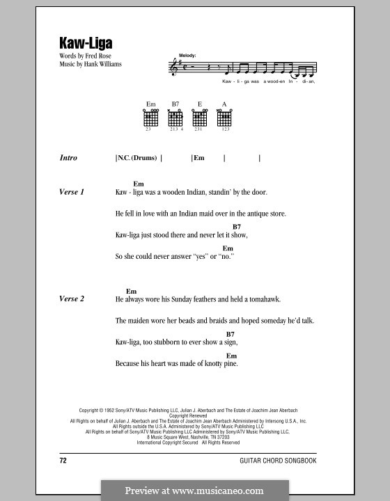 Kaw-Liga (Hank Williams): Lyrics and chords (with chord boxes) by Fred Rose