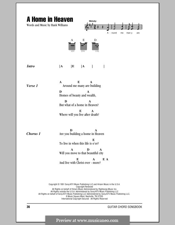 A Home in Heaven: Lyrics and chords (with chord boxes) by Hank Williams