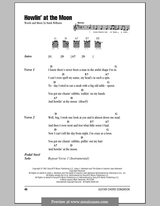 Howlin' at the Moon: Lyrics and chords (with chord boxes) by Hank Williams