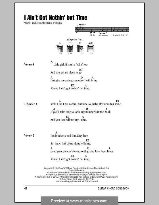 I Ain\'t Got Nothing But Time by H. Williams - sheet music on MusicaNeo