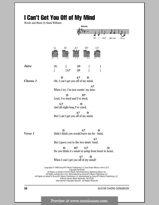 I Can't Get You Off of My Mind: Lyrics and chords (with chord boxes) by Hank Williams