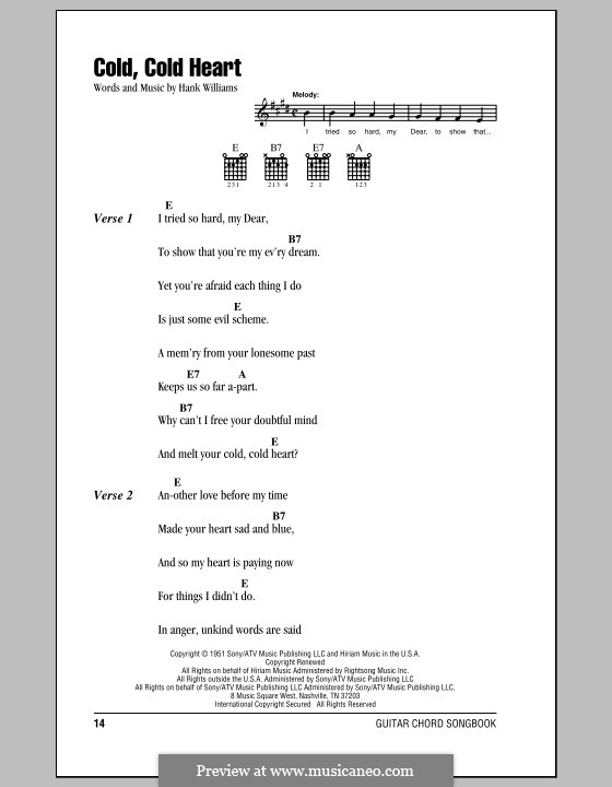 Cold, Cold Heart: Lyrics and chords (with chord boxes) by Hank Williams