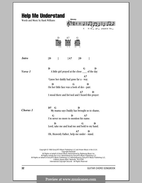 Help Me Understand: Lyrics and chords (with chord boxes) by Hank Williams