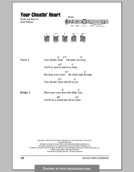 Your Cheatin' Heart: Lyrics and chords (with chord boxes) by Hank Williams