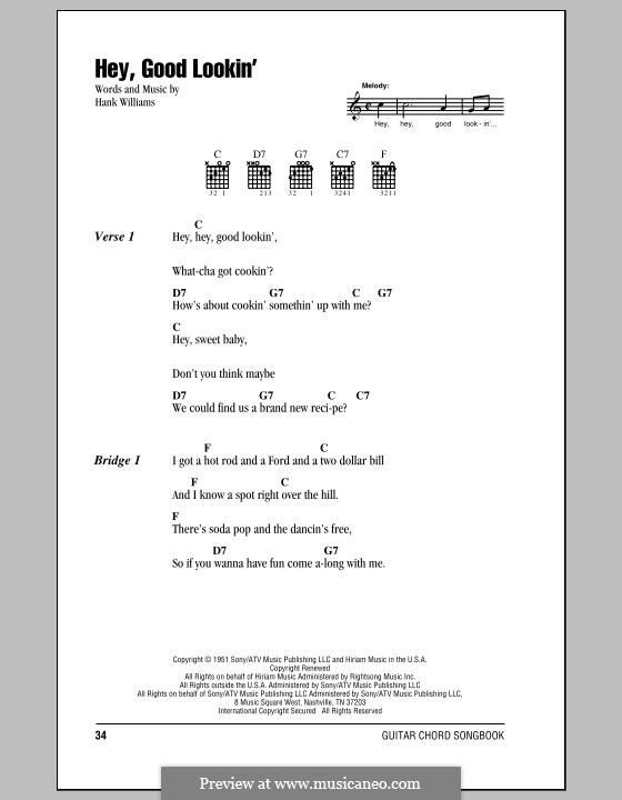 Hey, Good Lookin': Lyrics and chords (with chord boxes) by Hank Williams
