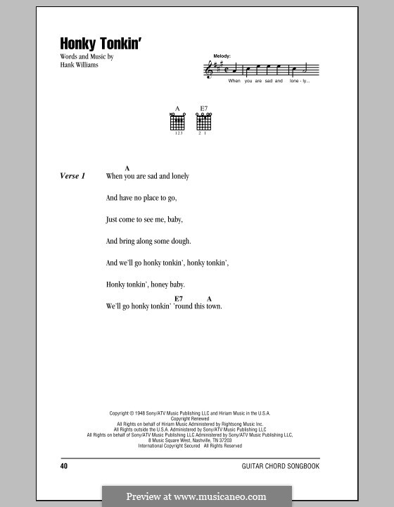Honky Tonkin': Lyrics and chords (with chord boxes) by Hank Williams