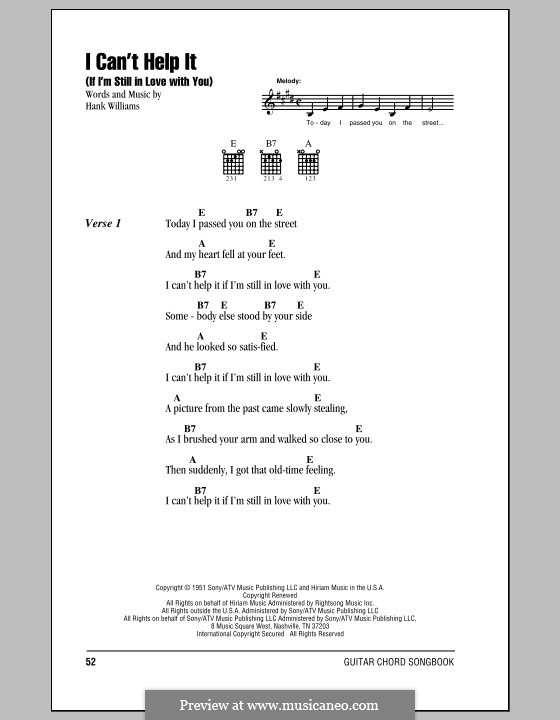 I Can't Help It (If I'm Still in Love with You): Lyrics and chords (with chord boxes) by Hank Williams