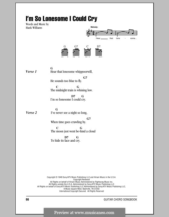 I'm So Lonesome I Could Cry: Lyrics and chords (with chord boxes) by Hank Williams