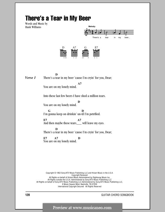 There's a Tear in My Beer: Lyrics and chords (with chord boxes) by Hank Williams