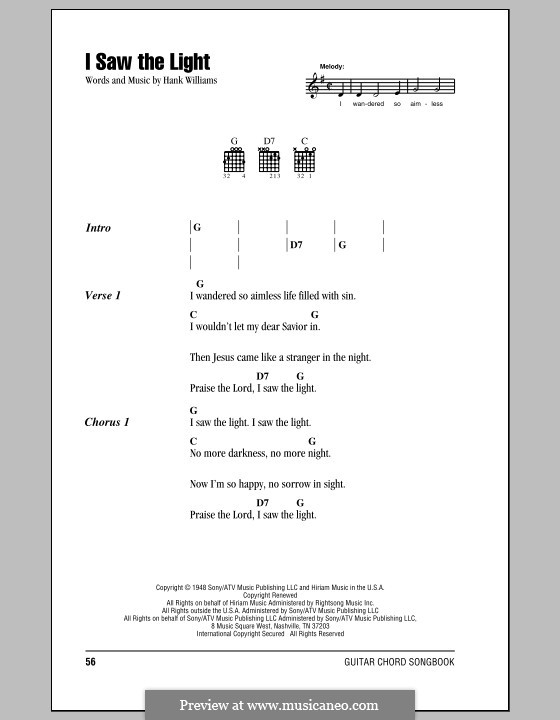 I Saw the Light: Lyrics and chords (with chord boxes) by Hank Williams